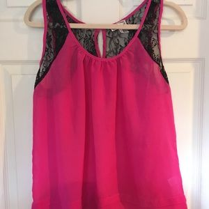 Bright Pink Black Lace Tank Top